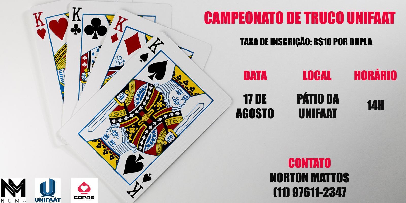 Campeonato de Truco será realizado na UNIFAAT