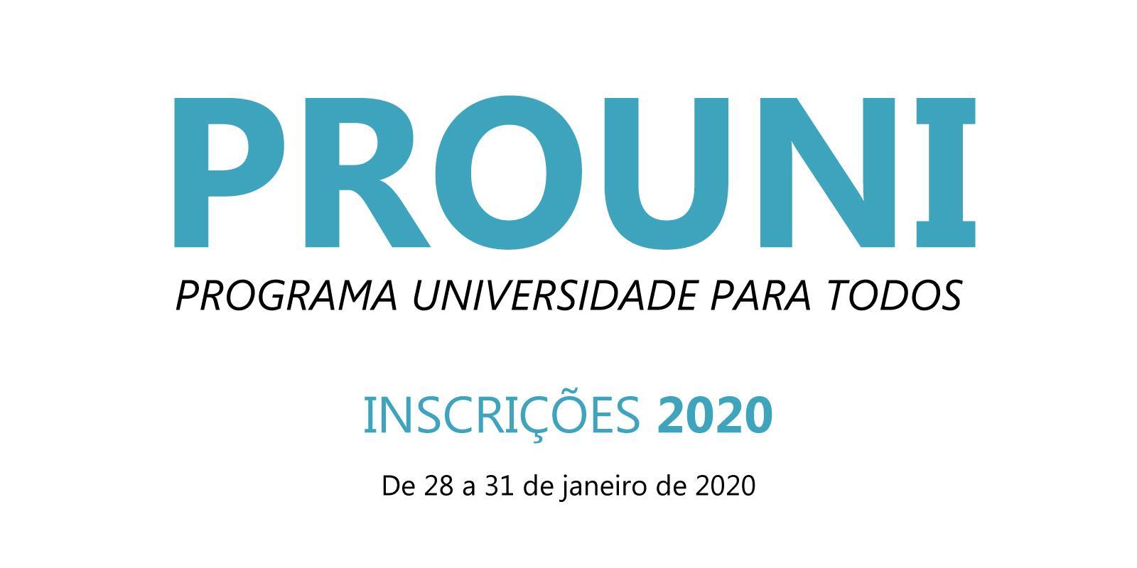 Inscrições para o Prouni 2020 - 1º Semestre
