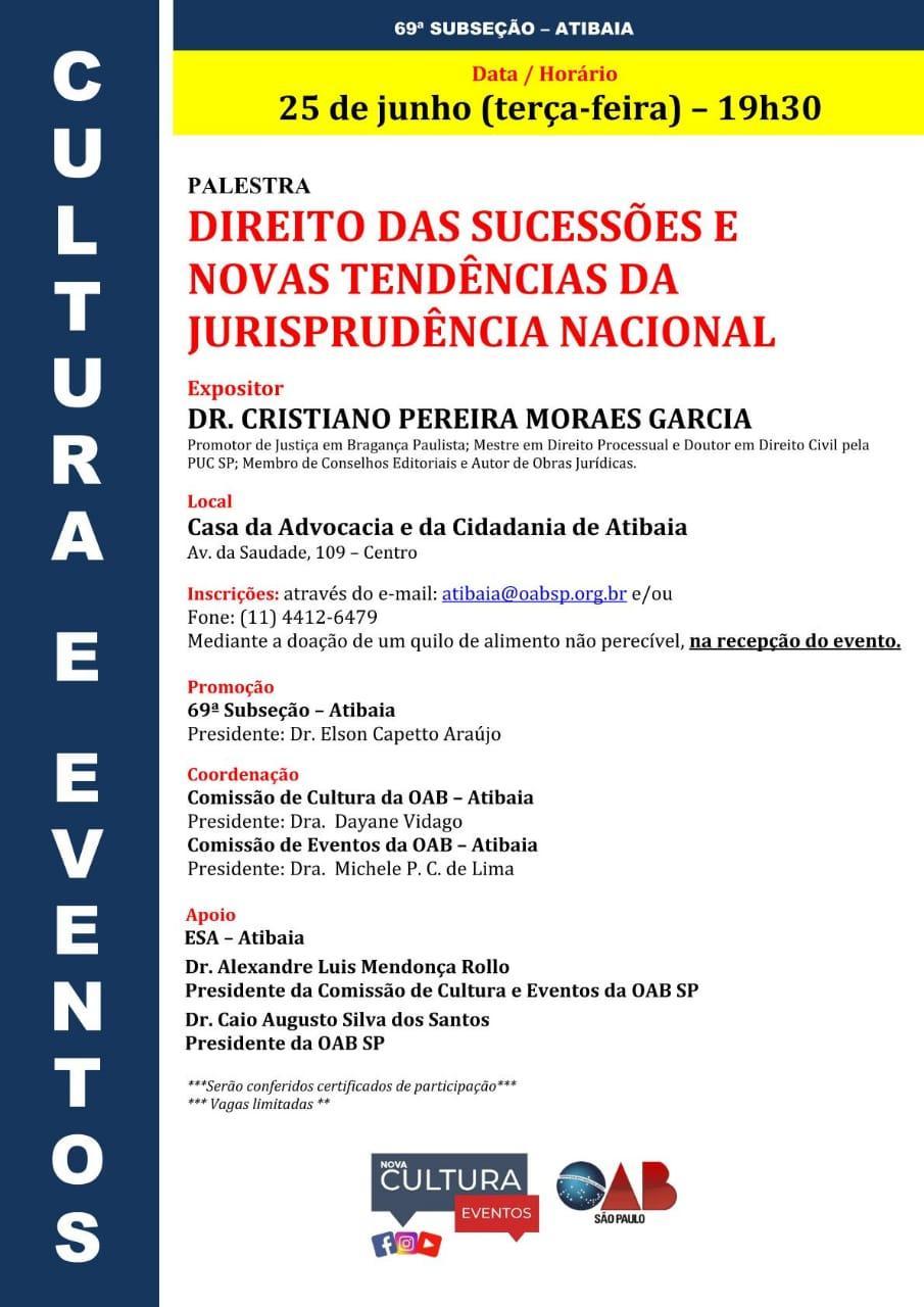 Professores de Direito da UNIFAAT realizam palestras na OAB de Atibaia